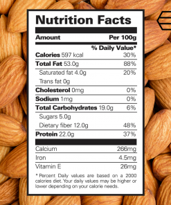 nutritional facts almond 100g