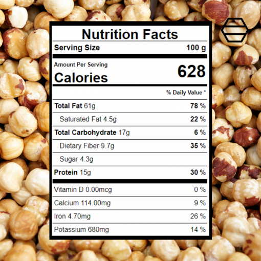 hazelnuts nutritional facts 100g