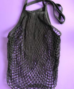 Stylish black cotton net tote bag. Perfect for everyday shopping.