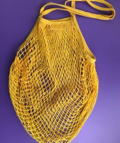 Stylish yellow cotton net tote bag. Perfect for everyday shopping.