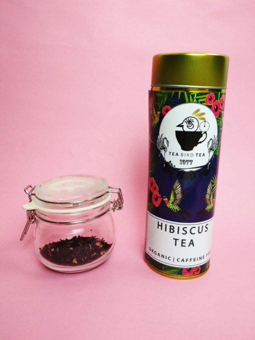 Organic, caffeine free hibiscus tea by Tea bird tea.