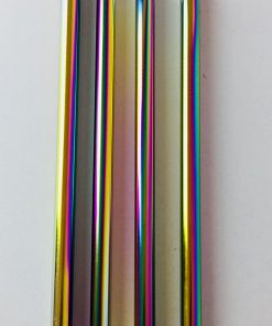 Reusable metal straw in elegant rainbow finish. Perfect for smoothies. Diameter 12mm.