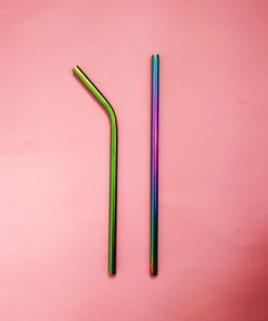 Reusable metal straw in stylish rainbow finish. Diameter 8mm
