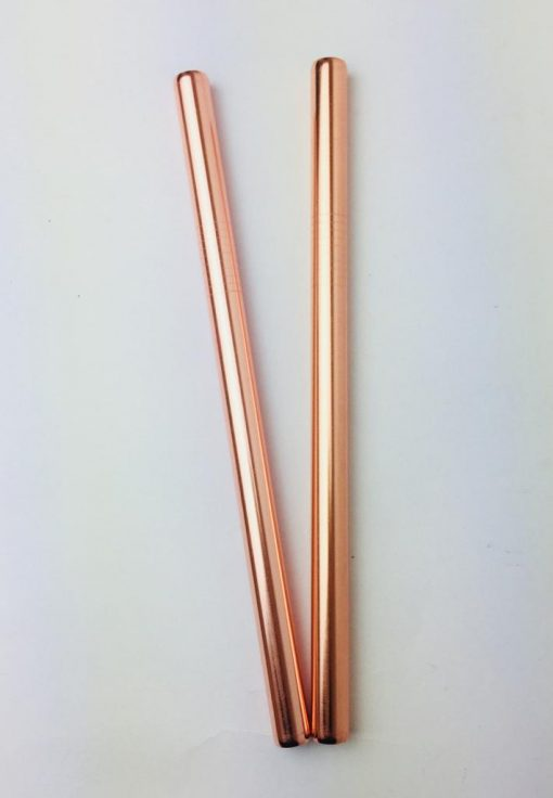 Reusable metal straw in elegant rose gold vibe. Perfect for smoothies. Diameter 12mm.
