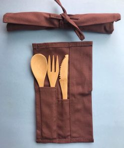Looking for a cutlery carrier?Use our Cutlery Carrier to keep your cutlery all wrapped up and all set for travel.Reusable natural bamboo fork, knife and spoon.