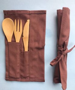 Reusable natural bamboo fork, knife and spoon.