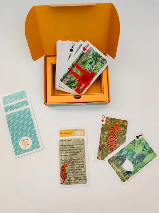 Games on the go is a deck of sturdy playing cards with the same colourful animals, so even very little children can easily play games such as Snap and Memory, while older members of the family can team up for Gin Rummy or Last Card. Included in the packs are fun facts about each of the animals featured in the deck.Shop online at the Hive Bulk foods, largest zero waste shop in Malaysia and Singapore.