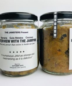 "The JAMSTERS present Banana Gula Melaka and Coconut Jam! INTERVIEW WITH THE JAMPIRE ""The only power that exists inside our jam"" ""A sumptuous JAM as strange and mesmerising as it is delicious"" A Jampire tells his epic life story: love, betrayal, loneliness, and his insatiable hunger for jam!"